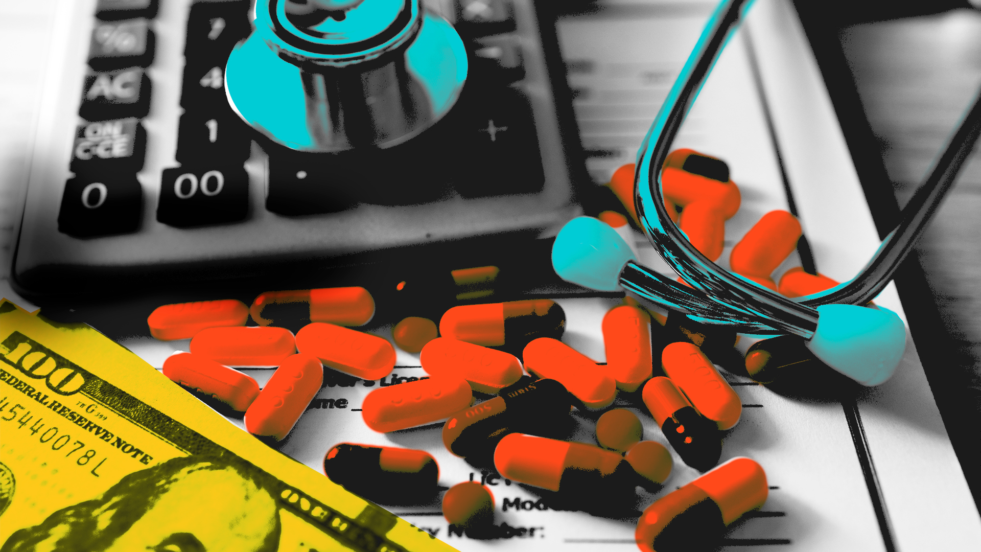 healthcare pills on tablet with $100 a calculator and a stethoscope
