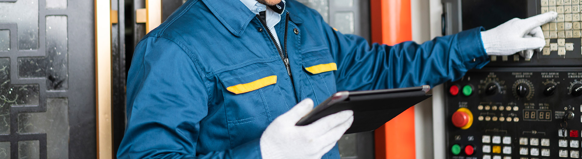 industrial worker using digital tools and tablet
