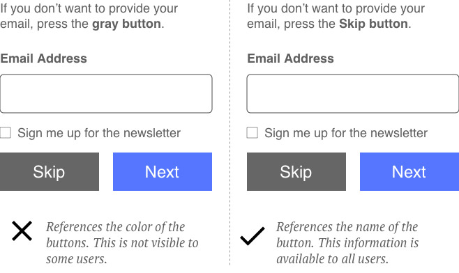 """Example of incorrect, visually-based instructions to """"click the gray button"""" and a better approach: """"Click the skip button""""."""